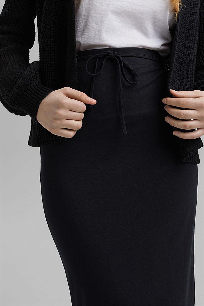 Jersey midi skirt made of organic cotton, BLACK, detail image number 2