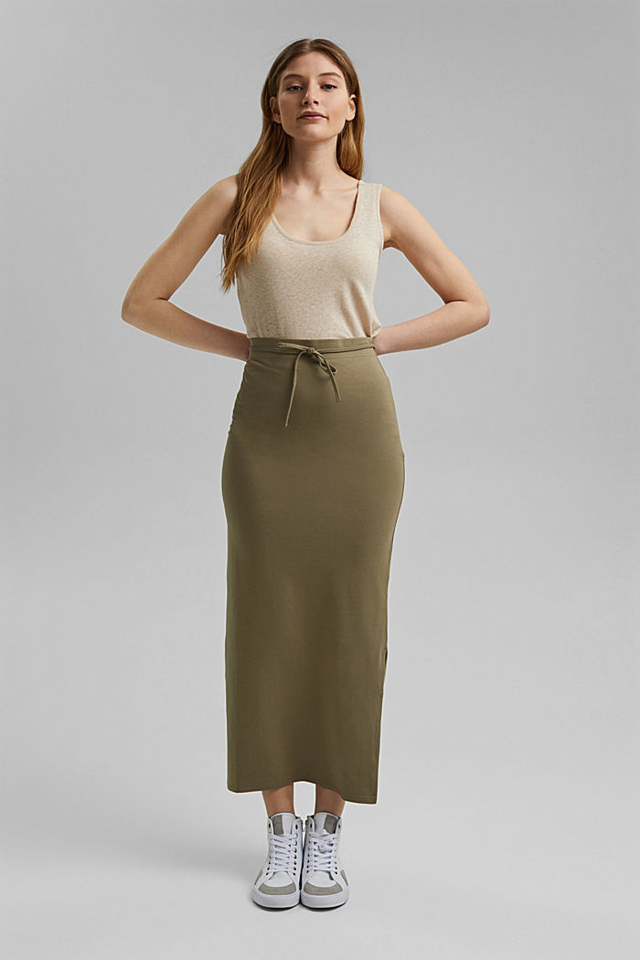 Jersey midi skirt made of organic cotton, LIGHT KHAKI, detail image number 0
