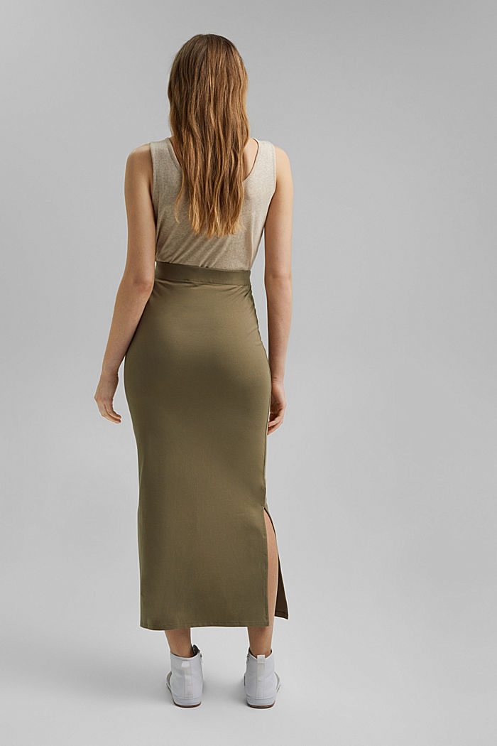 Jersey midi skirt made of organic cotton, LIGHT KHAKI, detail image number 3