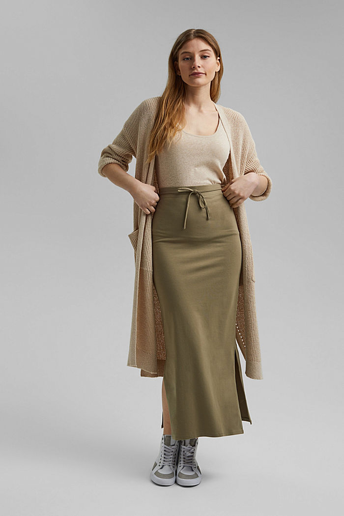Jersey midi skirt made of organic cotton, LIGHT KHAKI, detail image number 1