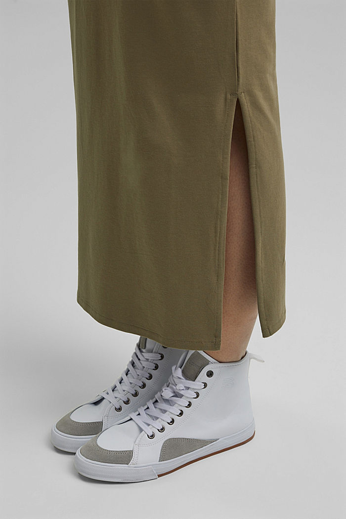 Jersey midi skirt made of organic cotton, LIGHT KHAKI, detail image number 2
