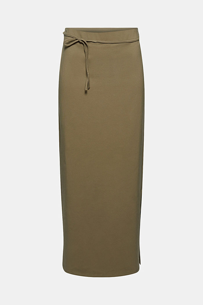 Jersey midi skirt made of organic cotton, LIGHT KHAKI, detail image number 5
