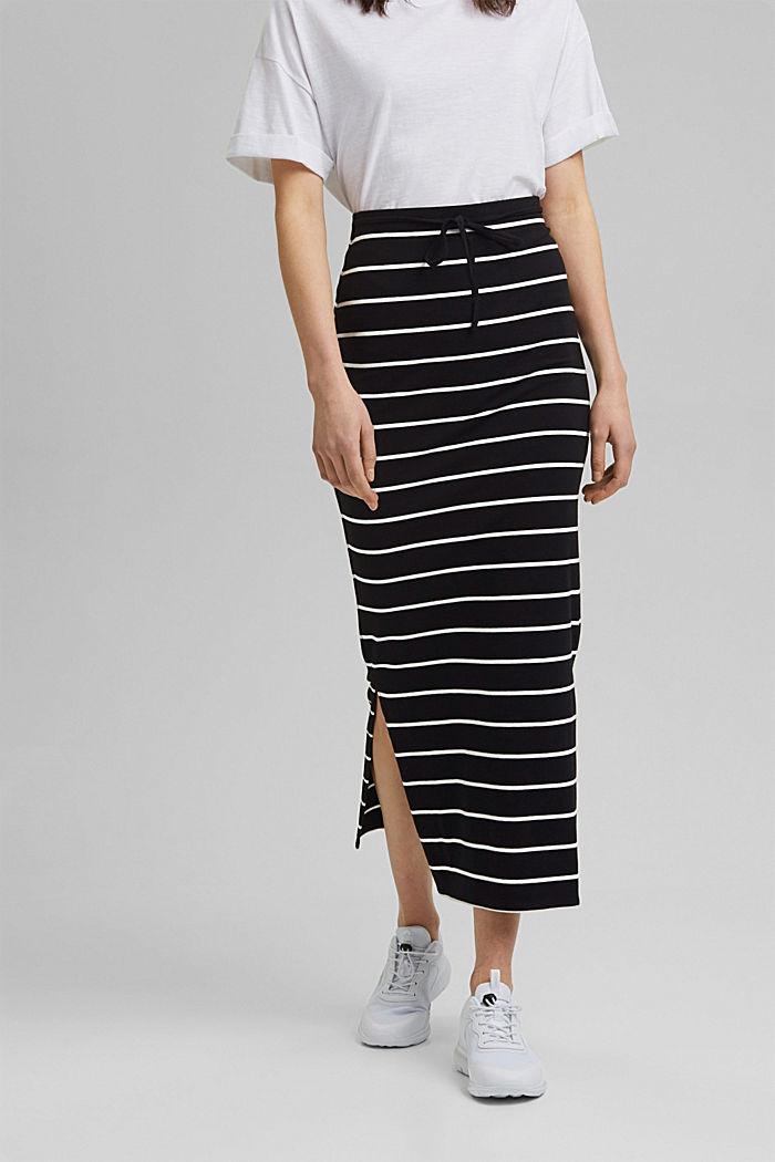 Midi skirt in jersey, organic cotton, BLACK, detail image number 0