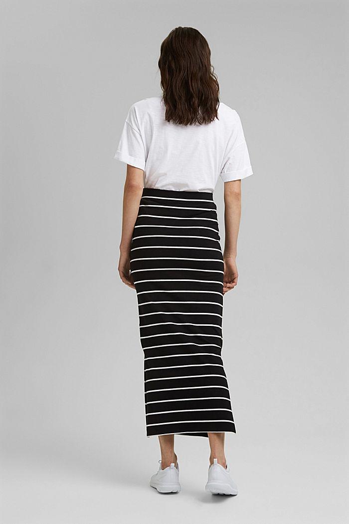 Midi skirt in jersey, organic cotton, BLACK, detail image number 3