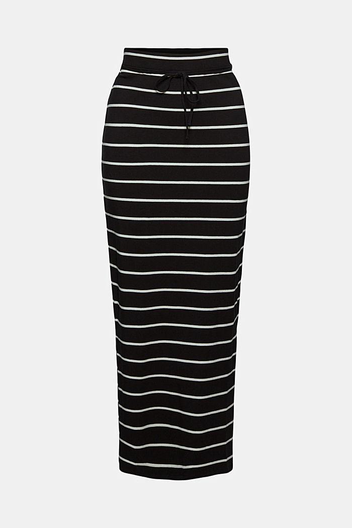 Midi skirt in jersey, organic cotton, BLACK, detail image number 6