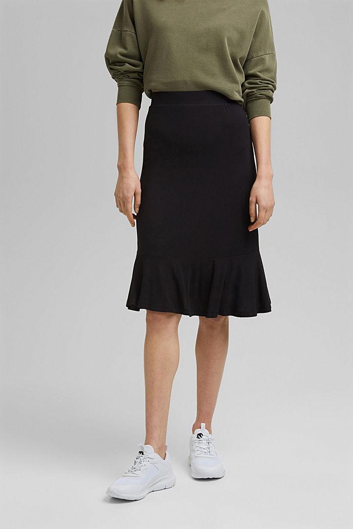Jersey skirt made of LENZING™ ECOVERO™, BLACK, detail image number 0