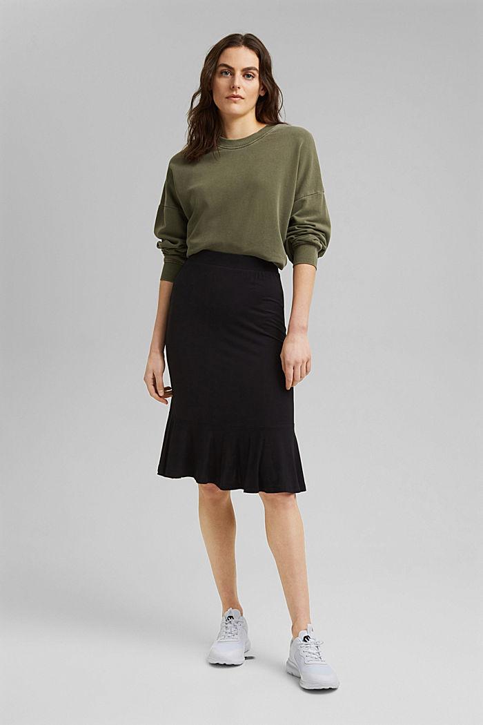 Jersey skirt made of LENZING™ ECOVERO™, BLACK, detail image number 1