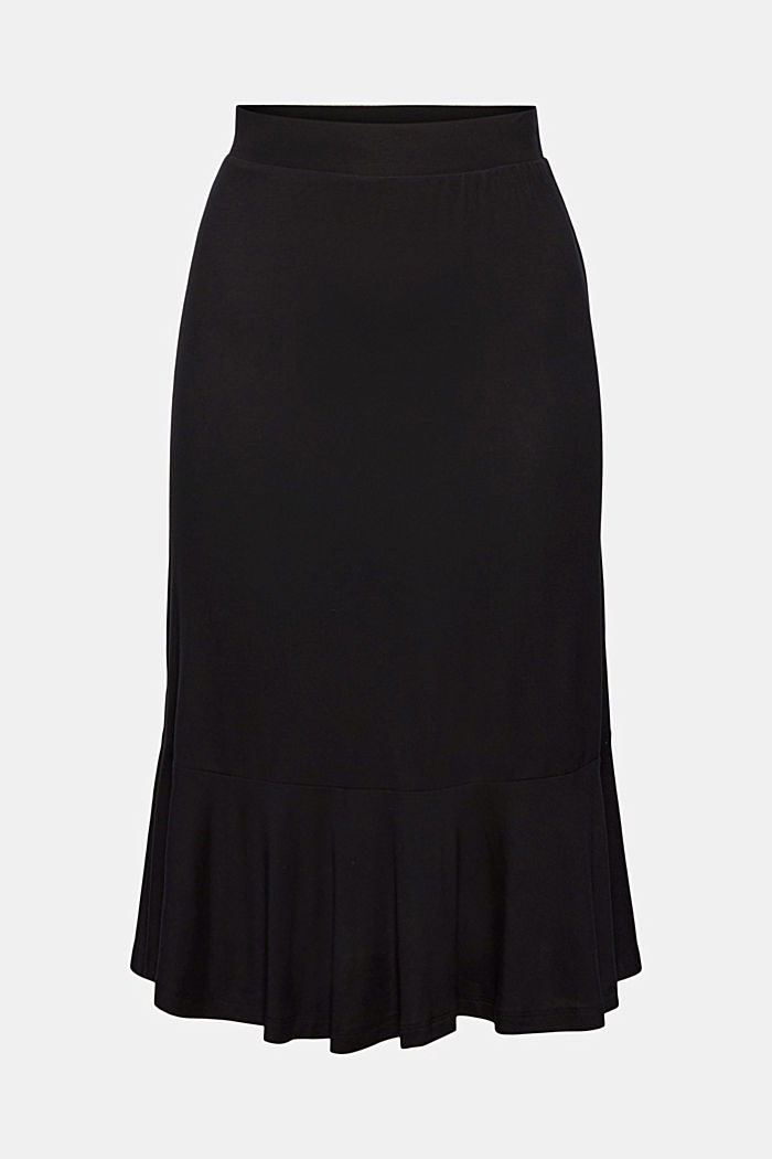 Jersey skirt made of LENZING™ ECOVERO™, BLACK, detail image number 5