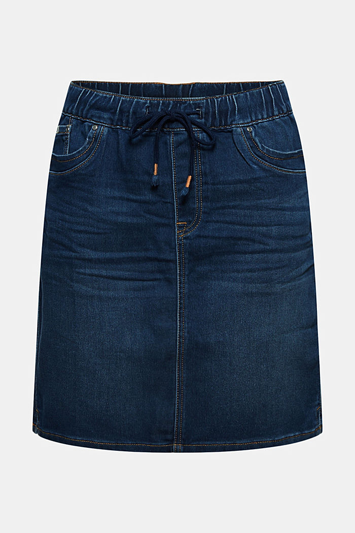 Denim skirt in sweatshirt fabric, BLUE DARK WASHED, detail image number 6