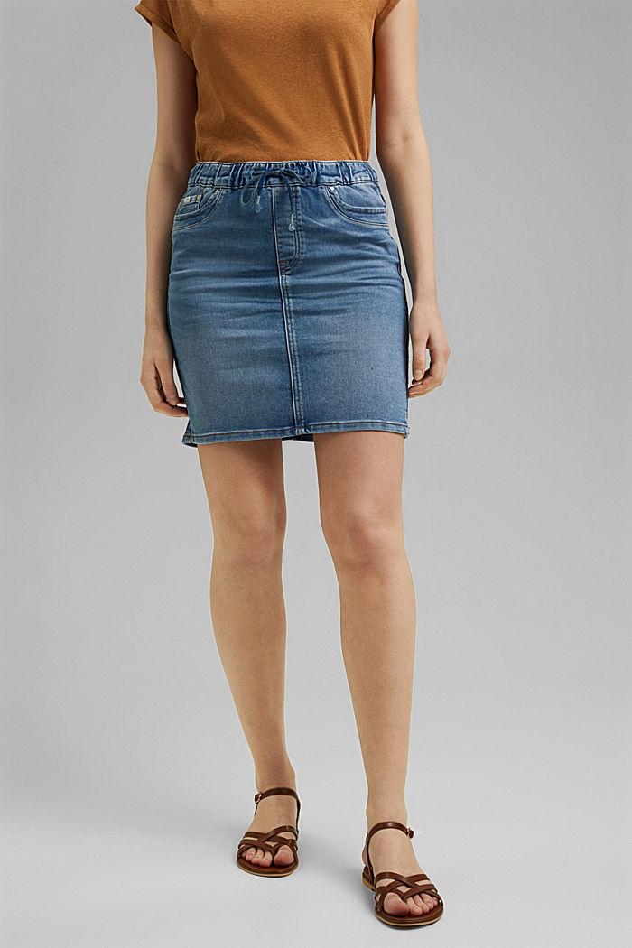 Denim skirt in sweatshirt fabric, BLUE LIGHT WASHED, detail image number 0