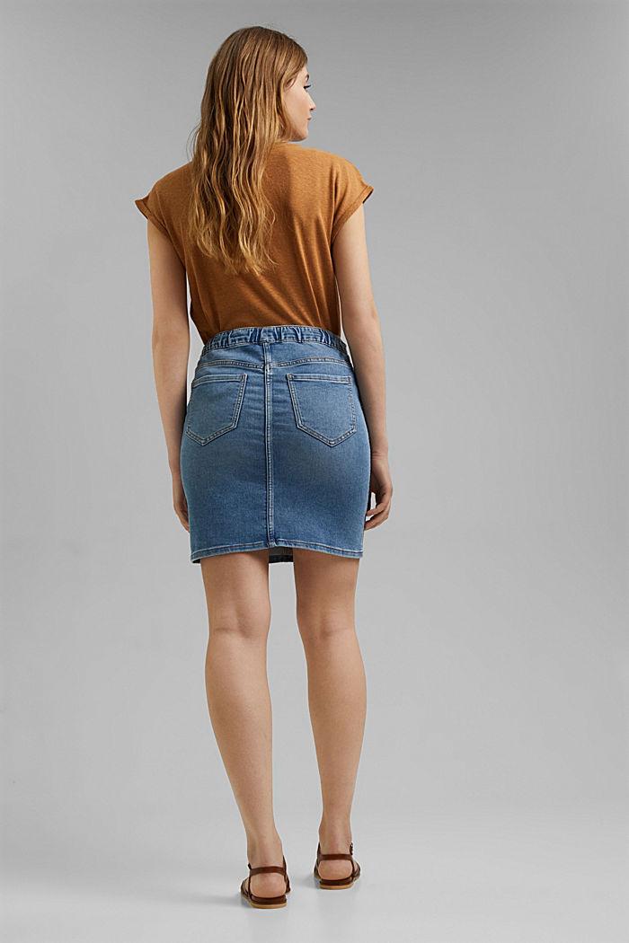 Denim skirt in sweatshirt fabric, BLUE LIGHT WASHED, detail image number 3