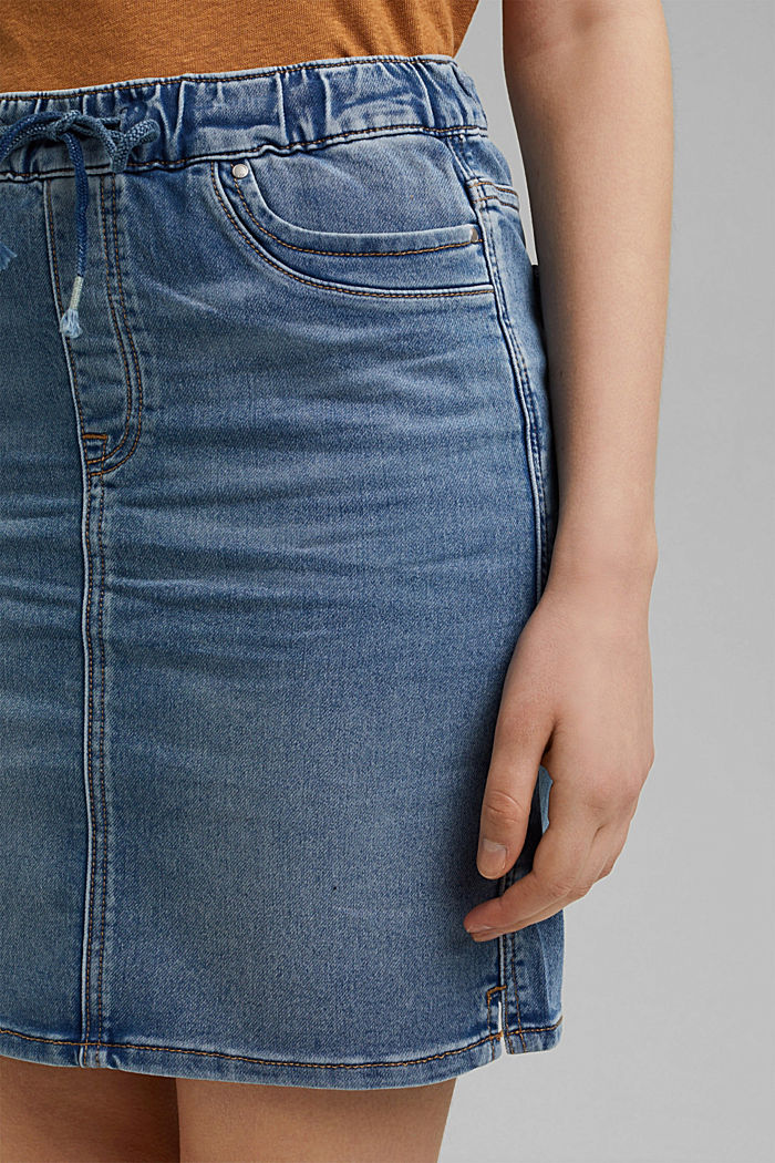Denim skirt in sweatshirt fabric, BLUE LIGHT WASHED, detail image number 2