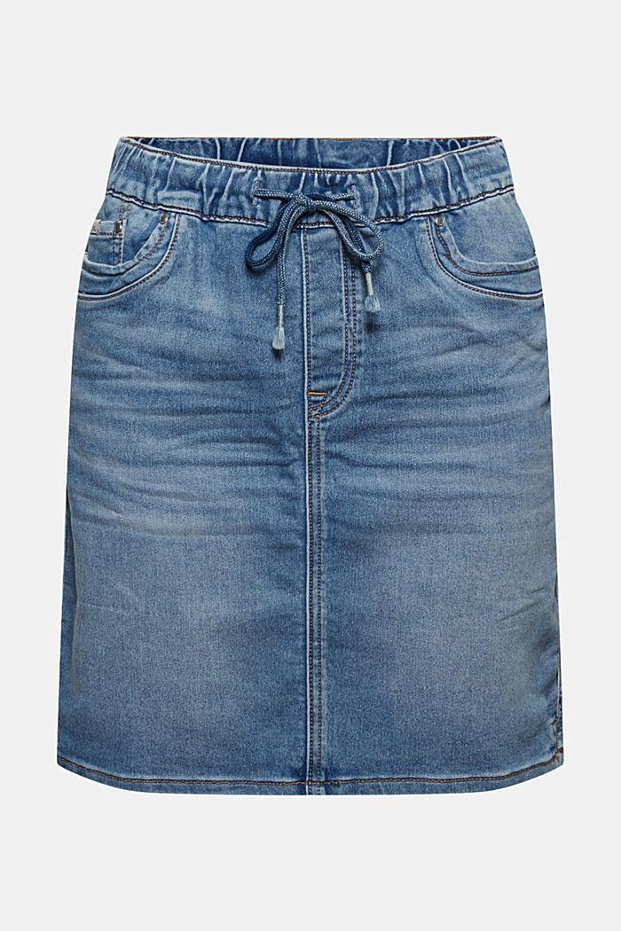 Denim skirt in sweatshirt fabric, BLUE LIGHT WASHED, detail image number 5