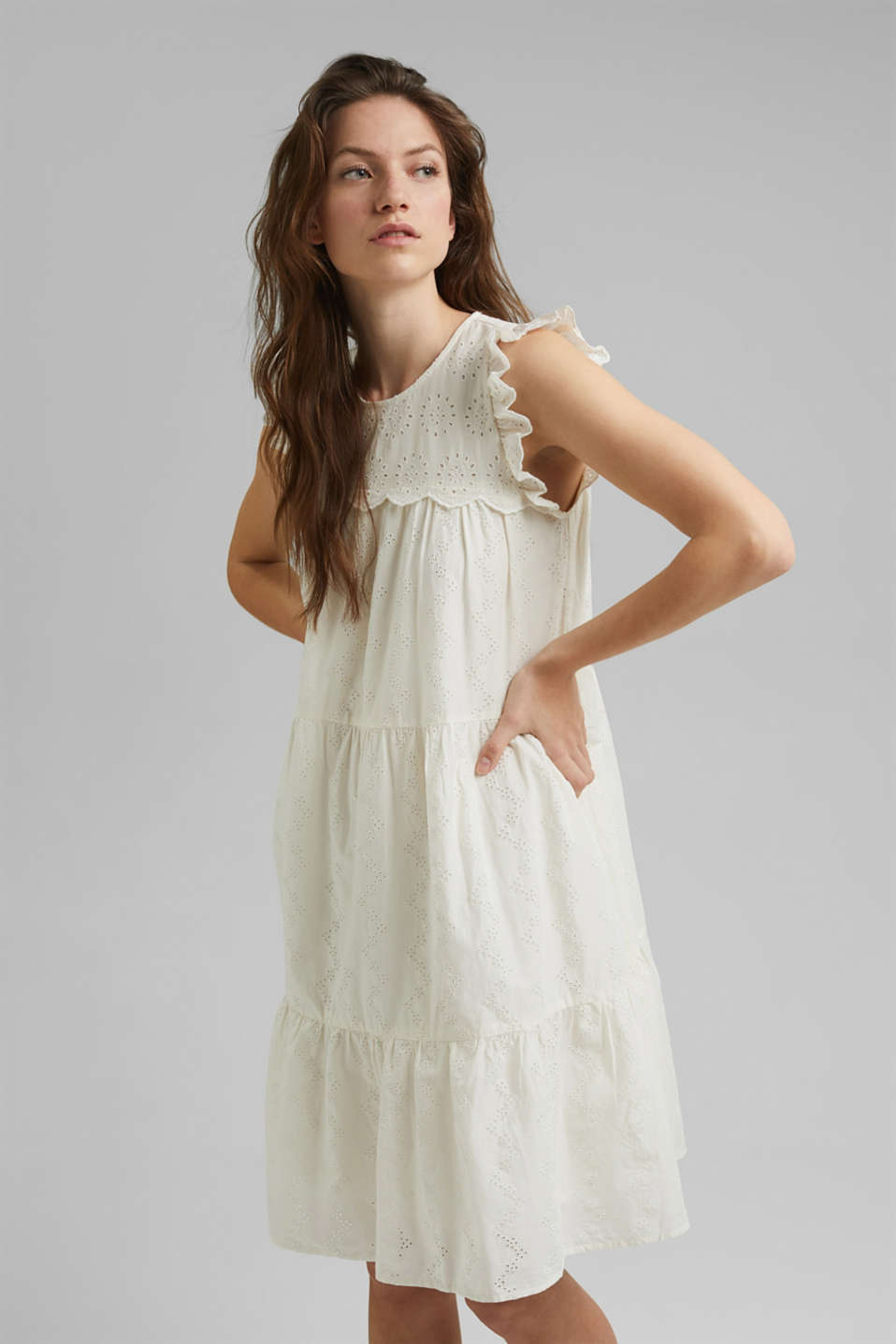 edc - Broderie anglaise detail dress, organic cotton