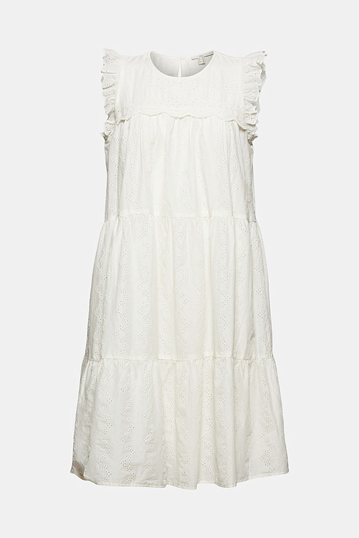 Broderie anglaise detail dress, organic cotton