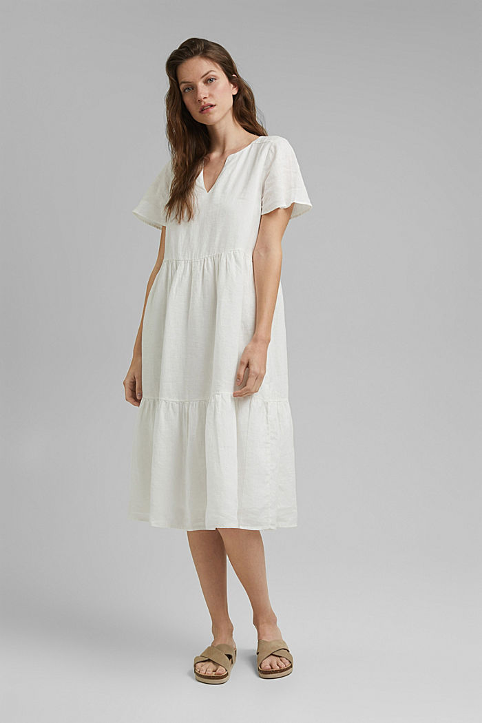 Made of linen: Chiffon midi dress with flounces, OFF WHITE, detail image number 0