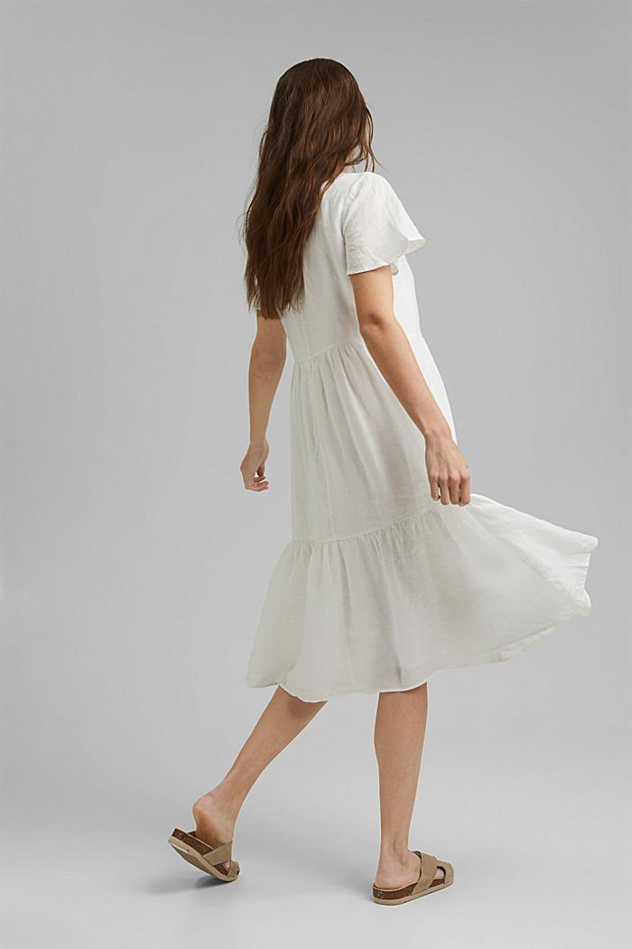 Made of linen: Chiffon midi dress with flounces, OFF WHITE, detail image number 2