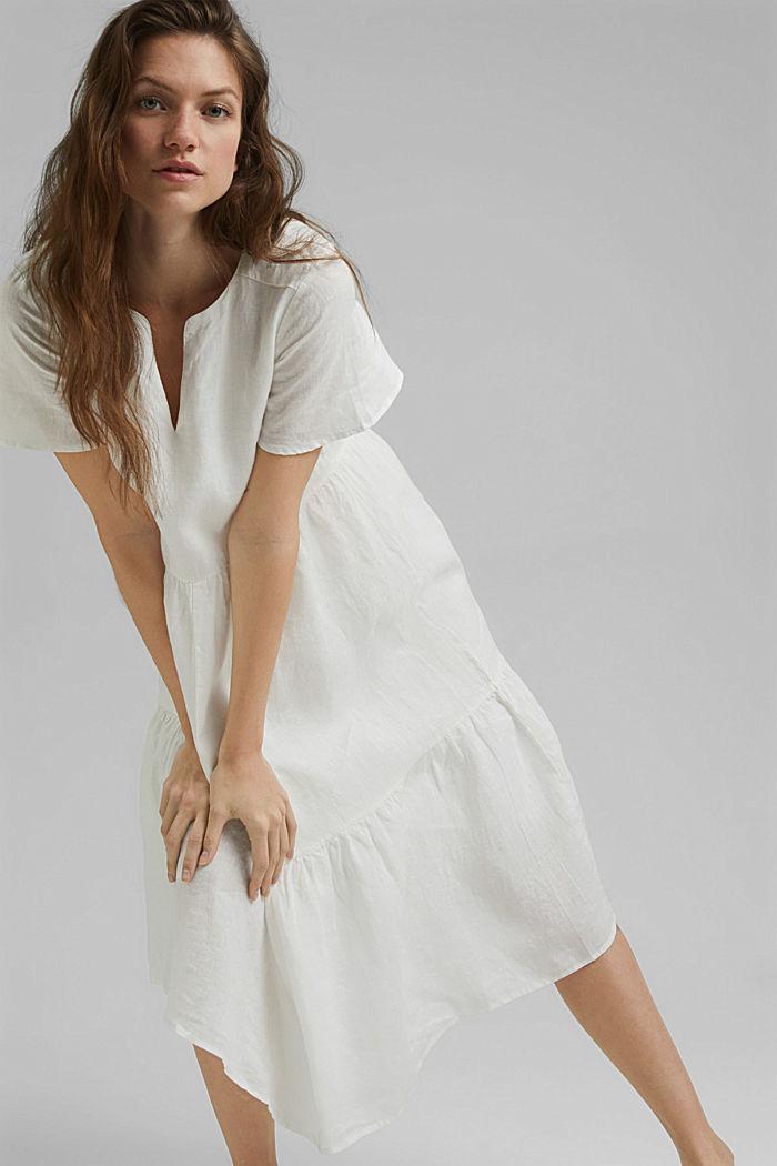 Van linnen: midi-jurk met volants
