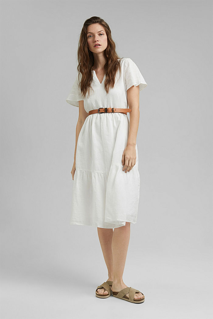 Made of linen: Chiffon midi dress with flounces, OFF WHITE, detail image number 1