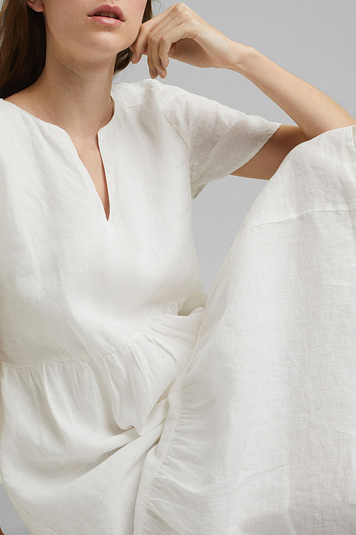 Made of linen: Chiffon midi dress with flounces, OFF WHITE, detail image number 3