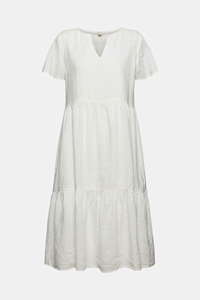 Made of linen: Chiffon midi dress with flounces