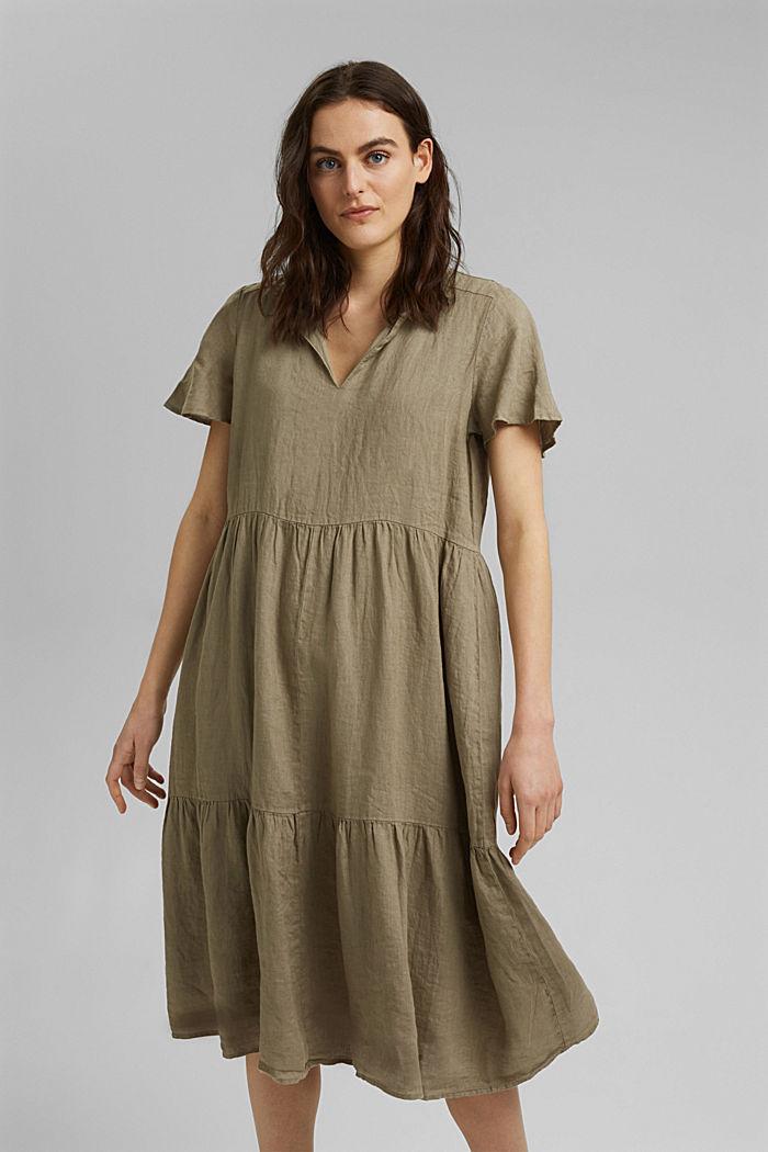 En lino: vestido midi con volantes, LIGHT KHAKI, detail image number 0