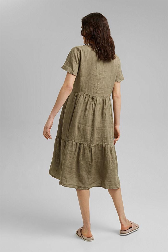 En lino: vestido midi con volantes, LIGHT KHAKI, detail image number 2