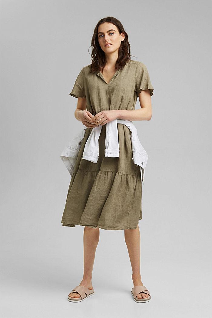 En lino: vestido midi con volantes, LIGHT KHAKI, detail image number 1
