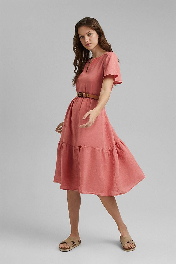Van linnen: midi-jurk met volants, CORAL, detail image number 1