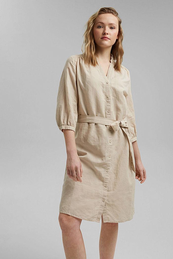 Made of blended linen: belted shirt dress, BEIGE, detail image number 0