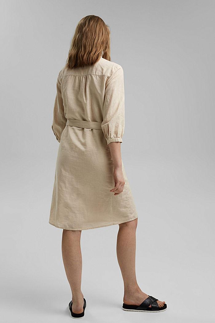 Made of blended linen: belted shirt dress, BEIGE, detail image number 2