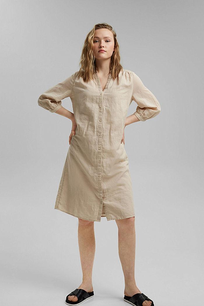 Made of blended linen: belted shirt dress, BEIGE, detail image number 1