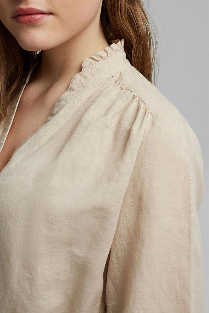 Made of blended linen: belted shirt dress, BEIGE, detail image number 3