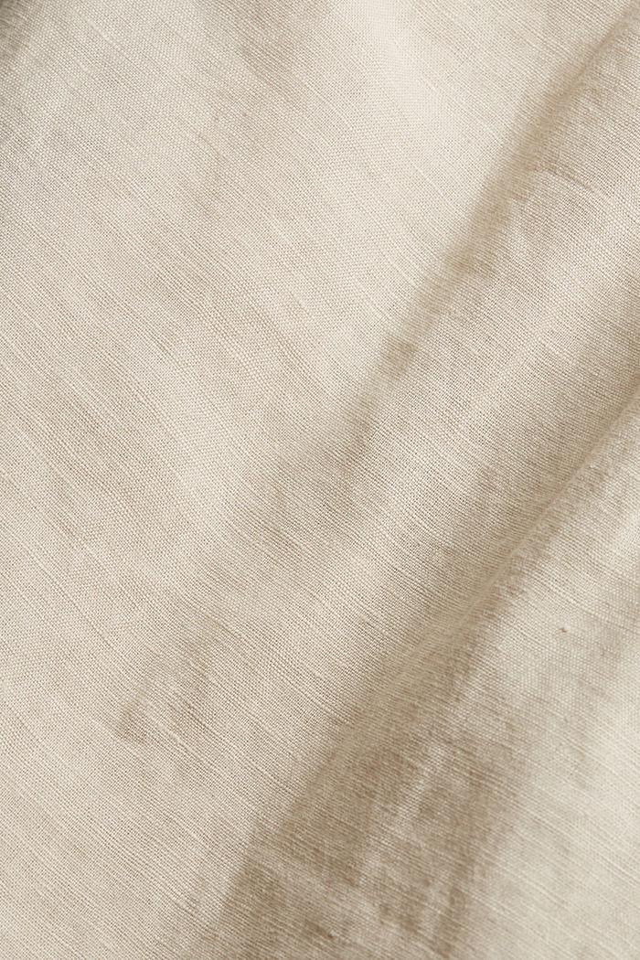 Made of blended linen: belted shirt dress, BEIGE, detail image number 4