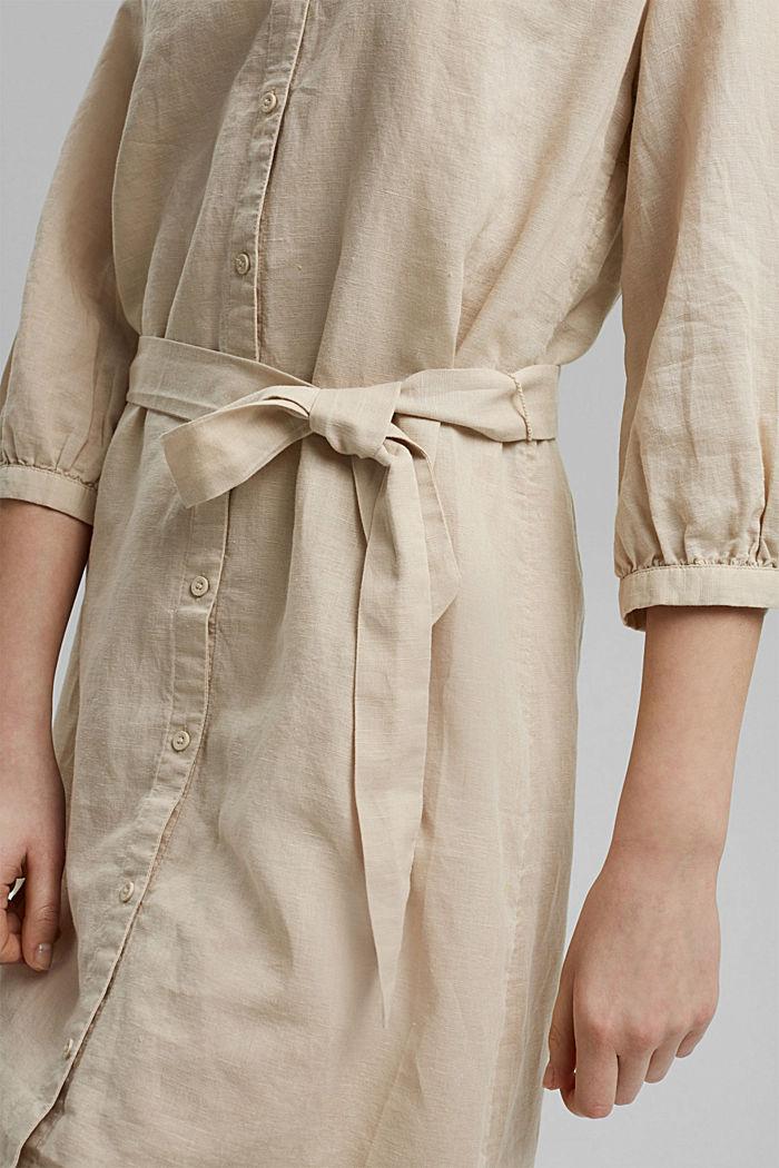 Made of blended linen: belted shirt dress, BEIGE, detail image number 6