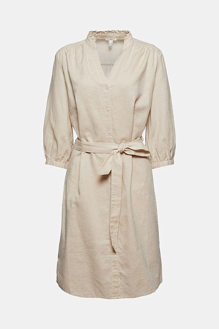 Made of blended linen: belted shirt dress