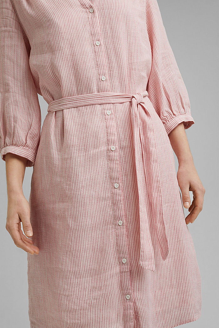 Linen blend: shirt dress with a belt, OFF WHITE, detail image number 3
