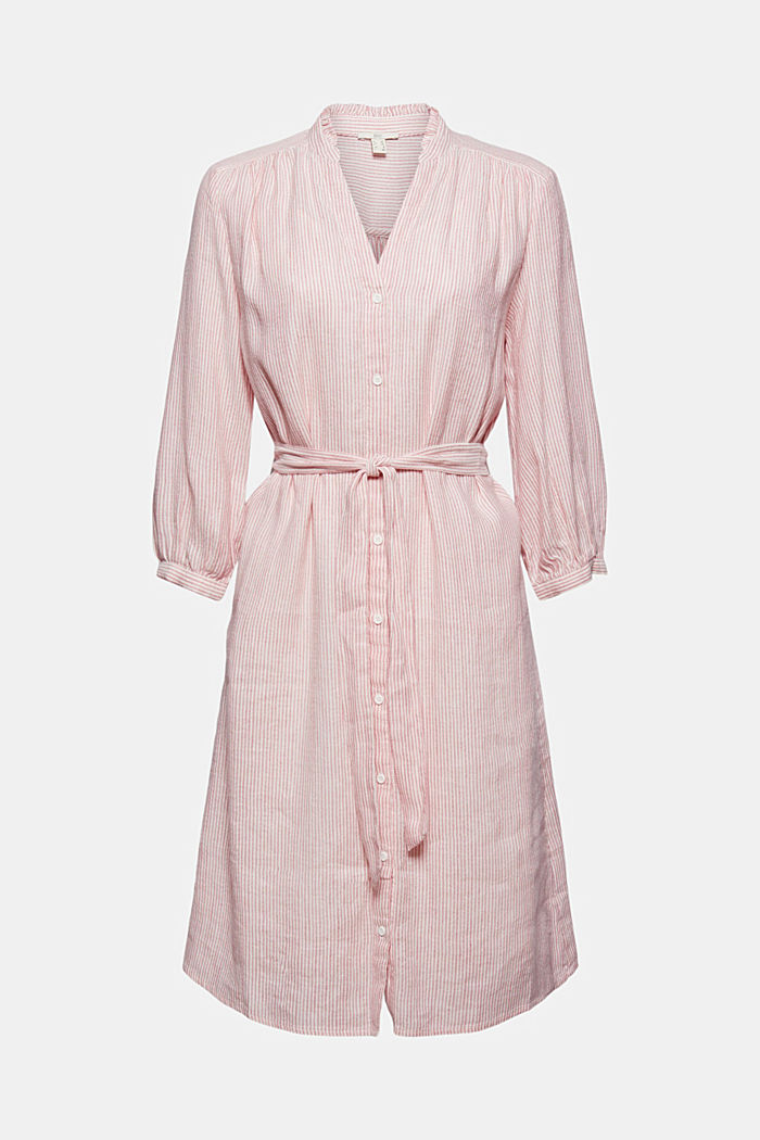 Linen blend: shirt dress with a belt, OFF WHITE, detail image number 6