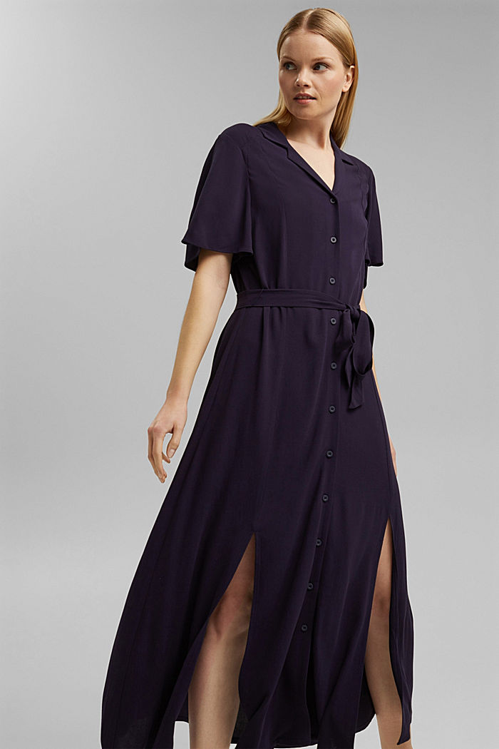 Maxi dress with a belt, made of LENZING™ ECOVERO™, NAVY, detail image number 0
