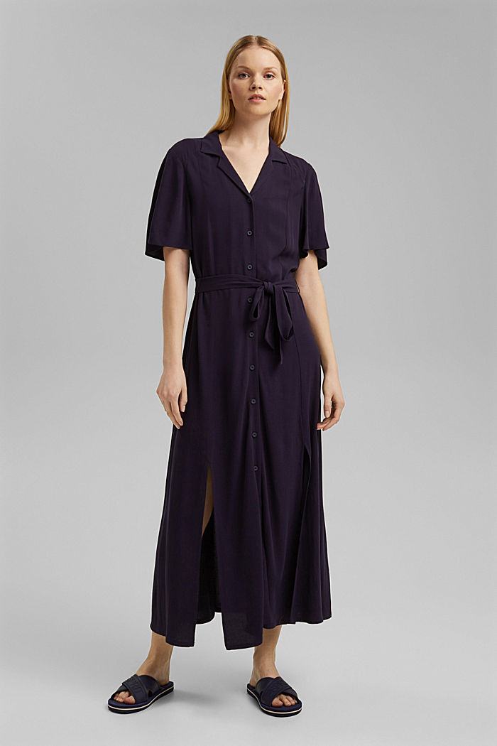 Maxi dress with a belt, made of LENZING™ ECOVERO™, NAVY, detail image number 1