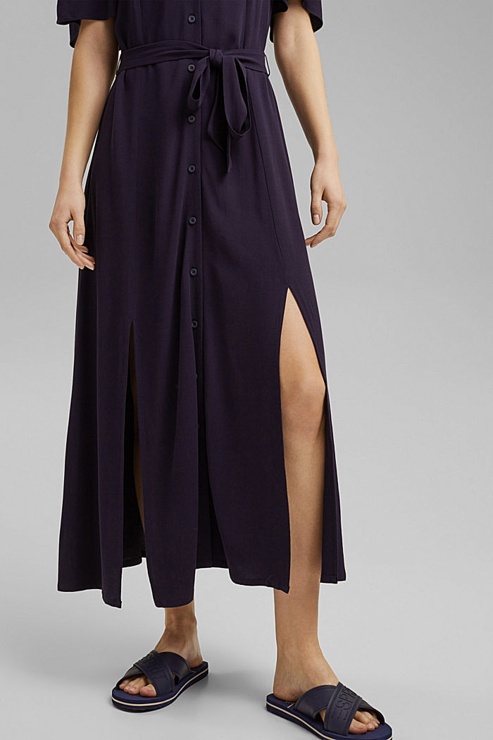 Maxi dress with a belt, made of LENZING™ ECOVERO™, NAVY, detail image number 3
