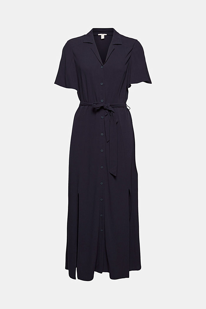 Maxi dress with a belt, made of LENZING™ ECOVERO™, NAVY, detail image number 5