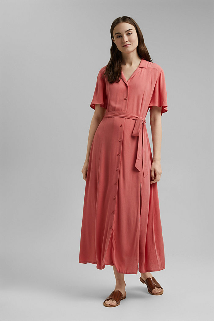 Maxi dress with a belt, made of LENZING™ ECOVERO™, CORAL, detail image number 0