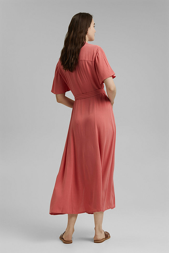 Maxi dress with a belt, made of LENZING™ ECOVERO™, CORAL, detail image number 2