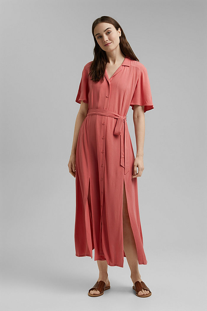 Maxi dress with a belt, made of LENZING™ ECOVERO™, CORAL, detail image number 1