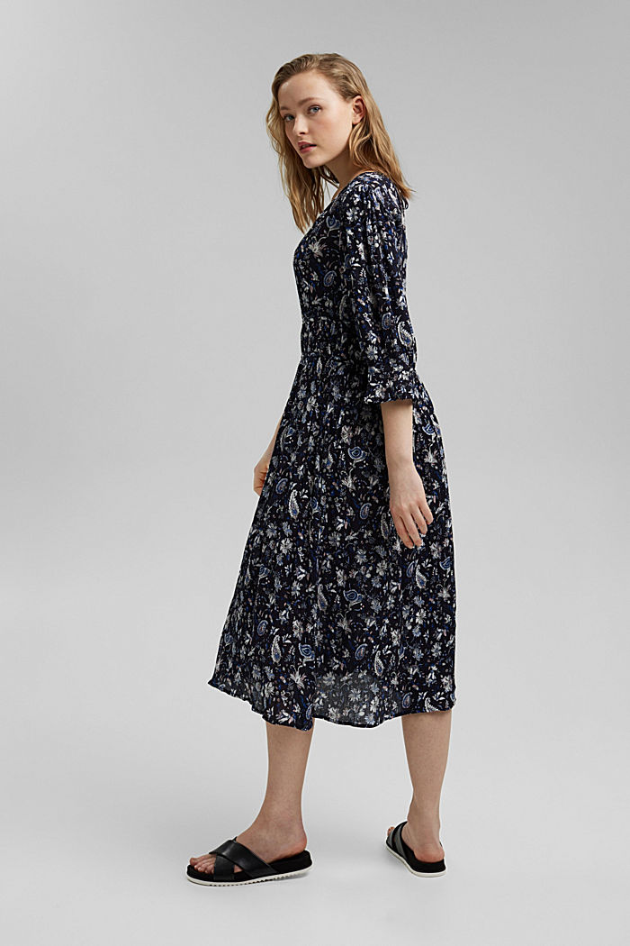 Print dress made of LENZING™ ECOVERO™, NAVY, detail image number 2
