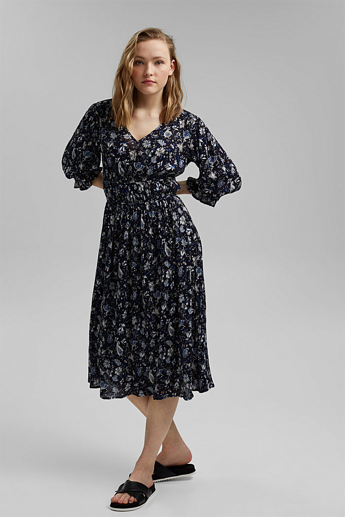 Print-Kleid aus LENZING™ ECOVERO™, NAVY, detail image number 1