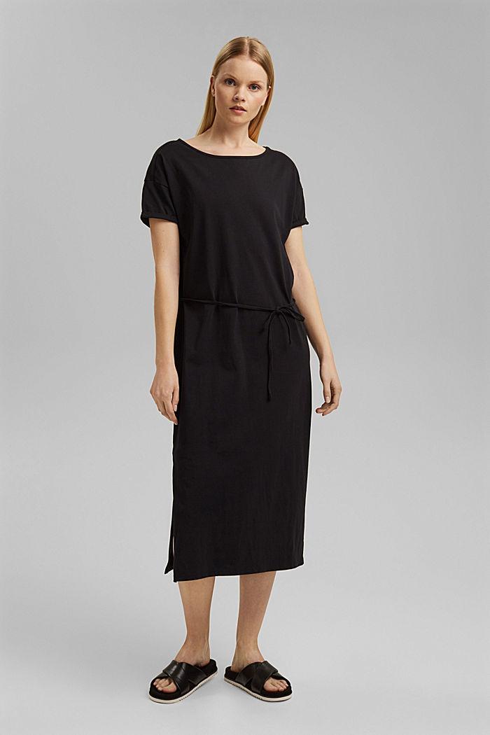 Vestido de largo midi realizado en jersey, algodón ecológico, BLACK, detail image number 0