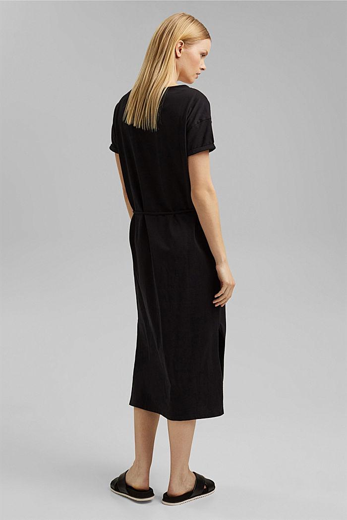 Vestido de largo midi realizado en jersey, algodón ecológico, BLACK, detail image number 2