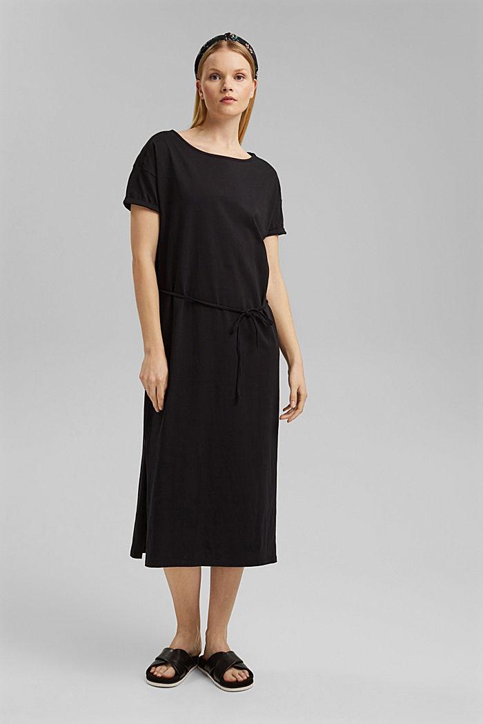Vestido de largo midi realizado en jersey, algodón ecológico, BLACK, detail image number 1
